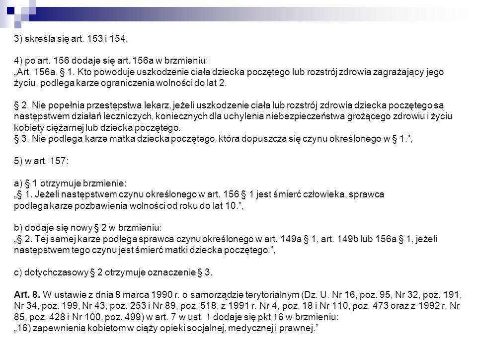 3) skreśla się art. 153 i 154, 4) po art. 156 dodaje się art