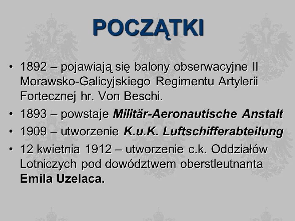 POCZĄTKI 1892 – pojawiają się balony obserwacyjne II Morawsko-Galicyjskiego Regimentu Artylerii Fortecznej hr. Von Beschi.