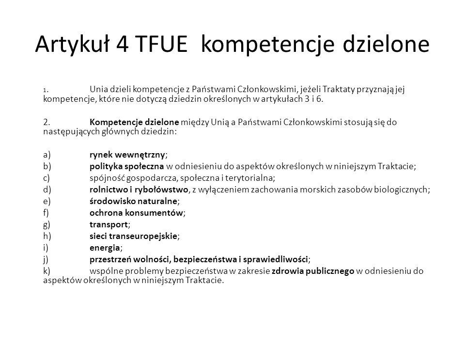 Artykuł 4 TFUE kompetencje dzielone