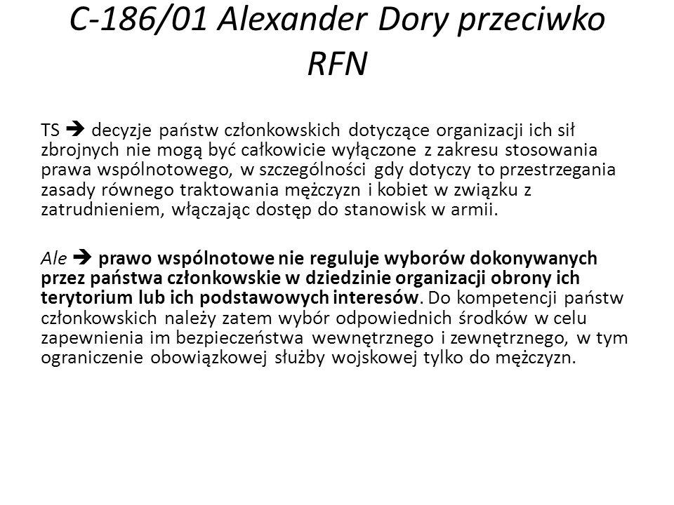 C-186/01 Alexander Dory przeciwko RFN