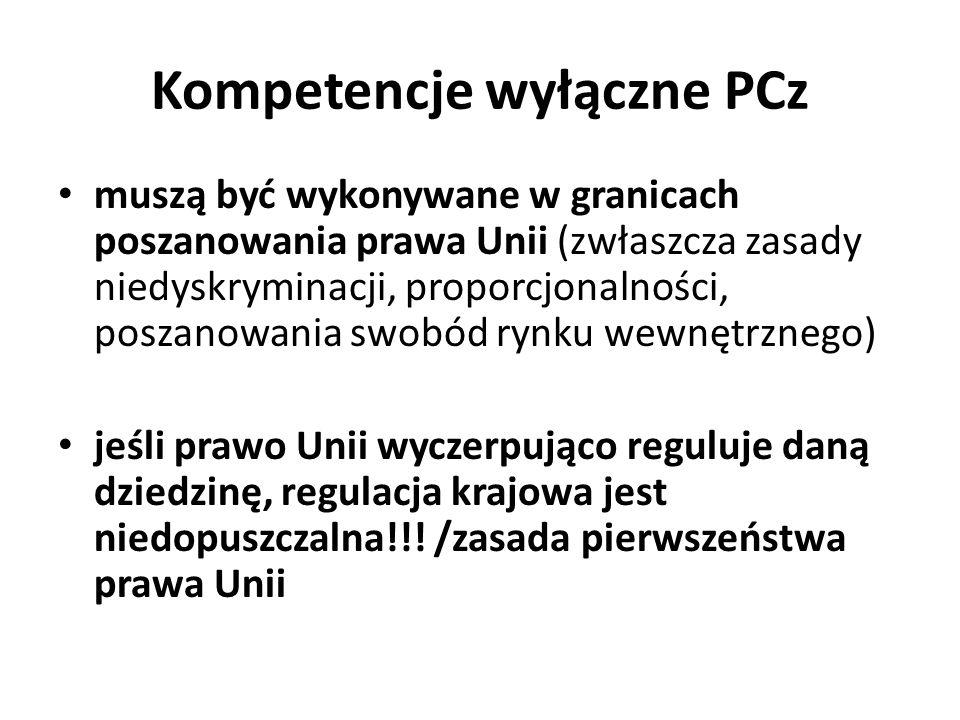 Kompetencje wyłączne PCz