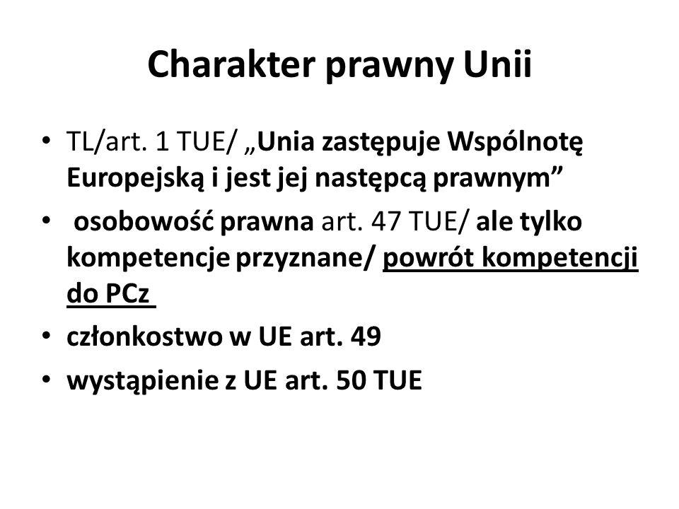 """Charakter prawny Unii TL/art. 1 TUE/ """"Unia zastępuje Wspólnotę Europejską i jest jej następcą prawnym"""