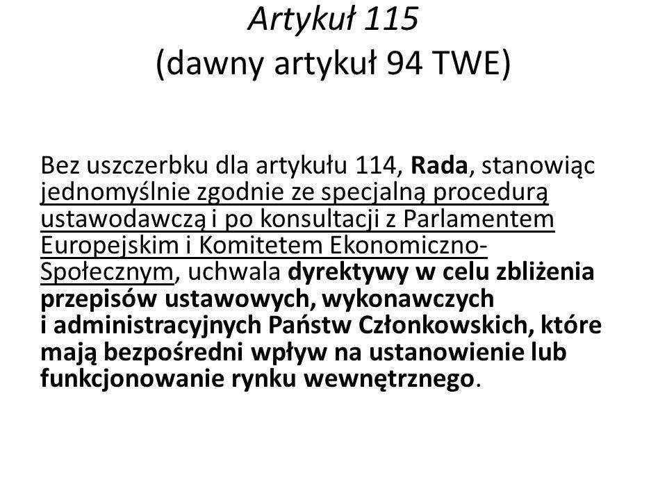 Artykuł 115 (dawny artykuł 94 TWE)