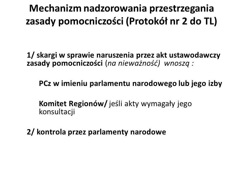 Mechanizm nadzorowania przestrzegania zasady pomocniczości (Protokół nr 2 do TL)