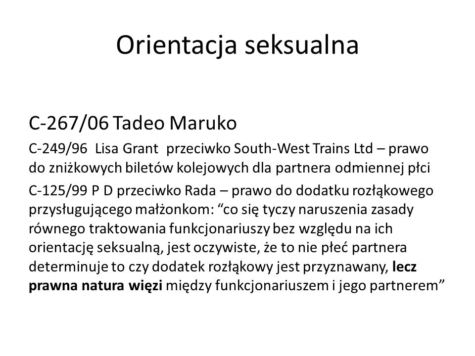 Orientacja seksualna C-267/06 Tadeo Maruko