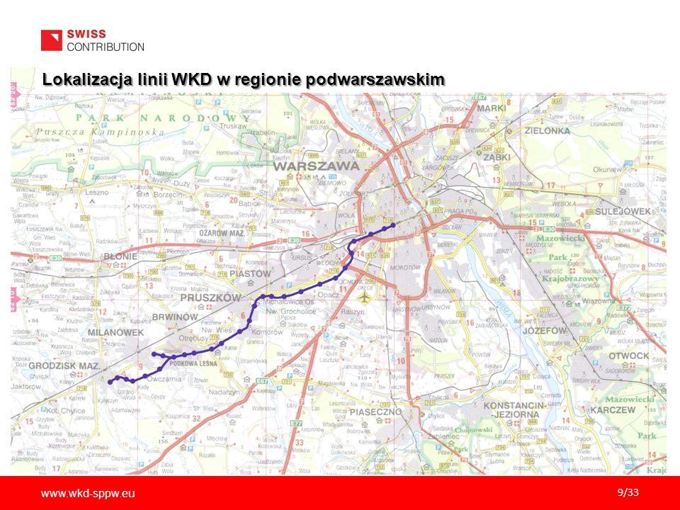Lokalizacja linii WKD w regionie podwarszawskim
