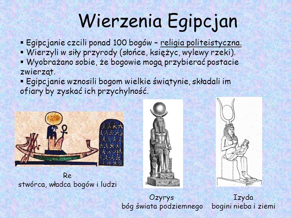 Wierzenia Egipcjan Egipcjanie czcili ponad 100 bogów – religia politeistyczna. Wierzyli w siły przyrody (słońce, księżyc, wylewy rzeki).