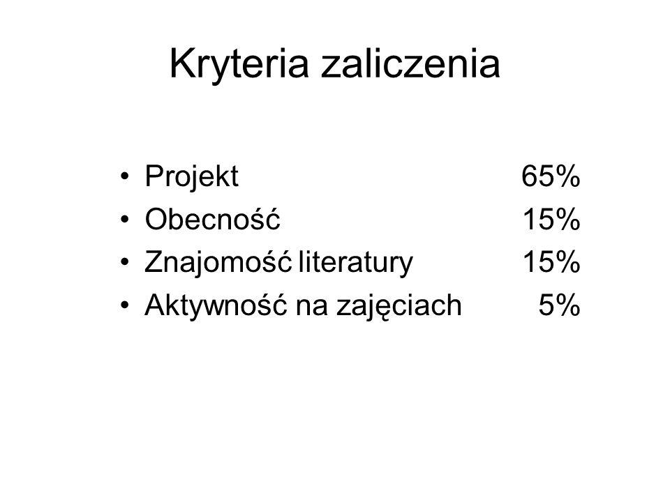 Kryteria zaliczenia Projekt 65% Obecność 15% Znajomość literatury 15%