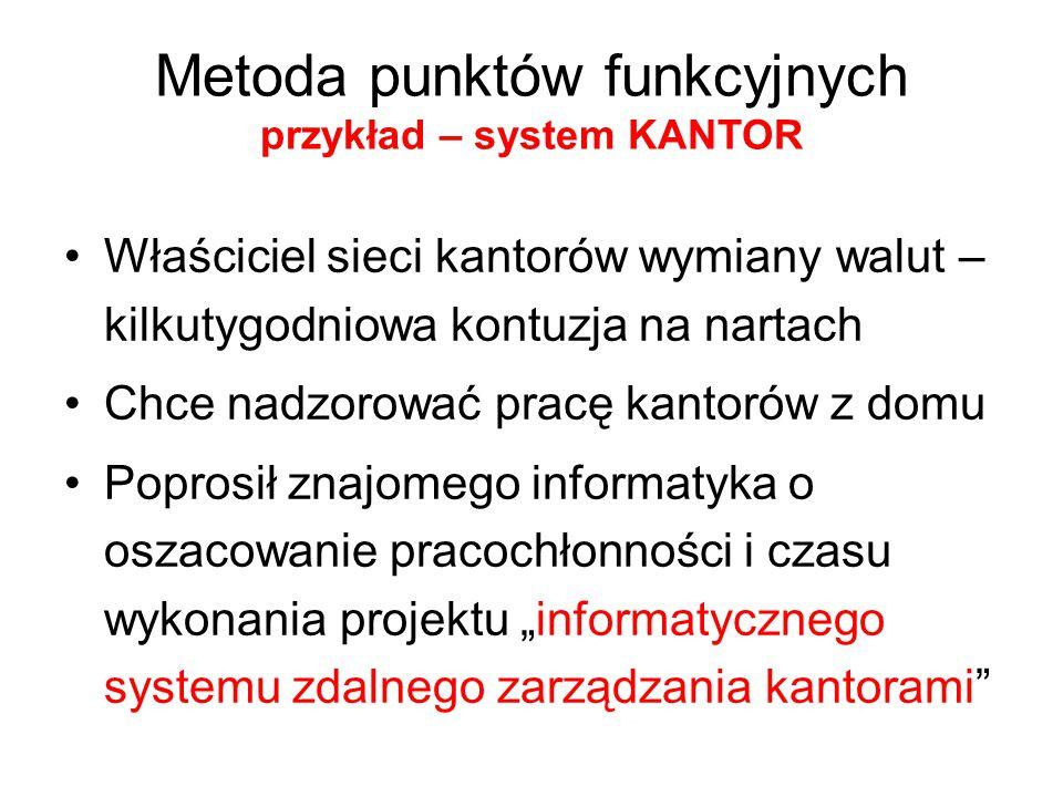 Metoda punktów funkcyjnych przykład – system KANTOR