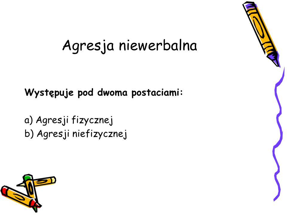 Agresja niewerbalna Występuje pod dwoma postaciami: