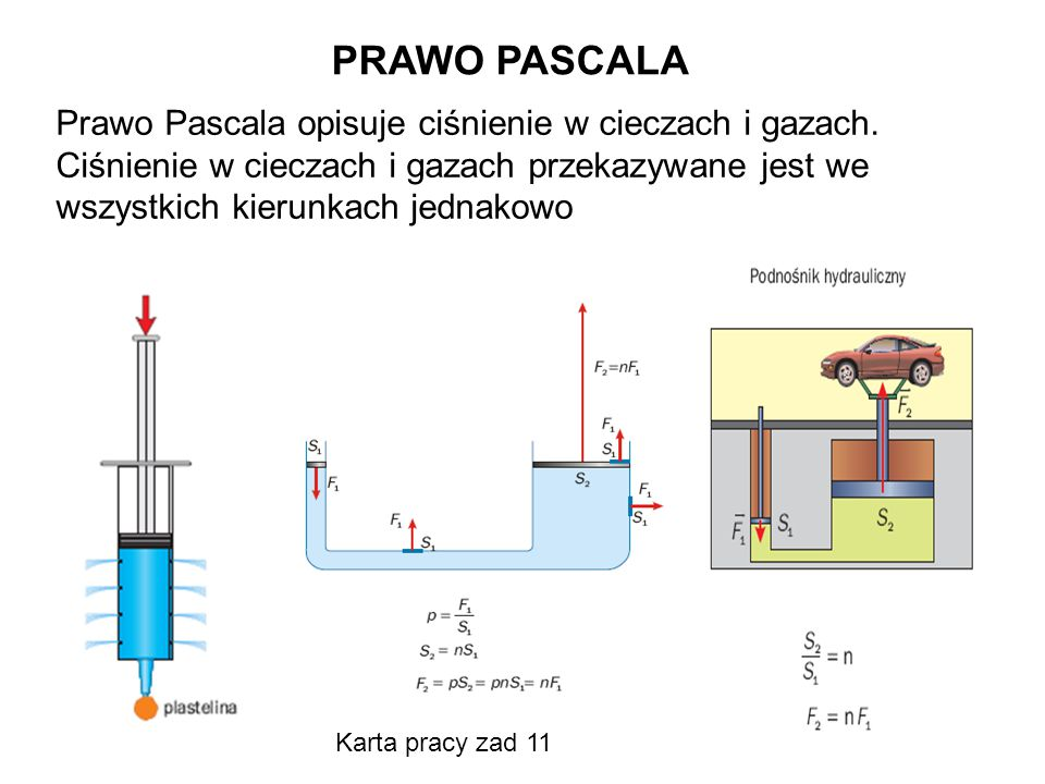 PRAWO PASCALA Prawo Pascala opisuje ciśnienie w cieczach i gazach. Ciśnienie w cieczach i gazach przekazywane jest we wszystkich kierunkach jednakowo.