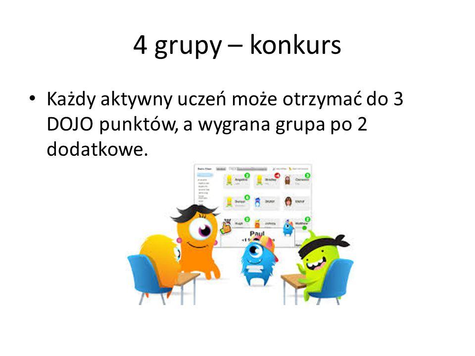 4 grupy – konkurs Każdy aktywny uczeń może otrzymać do 3 DOJO punktów, a wygrana grupa po 2 dodatkowe.