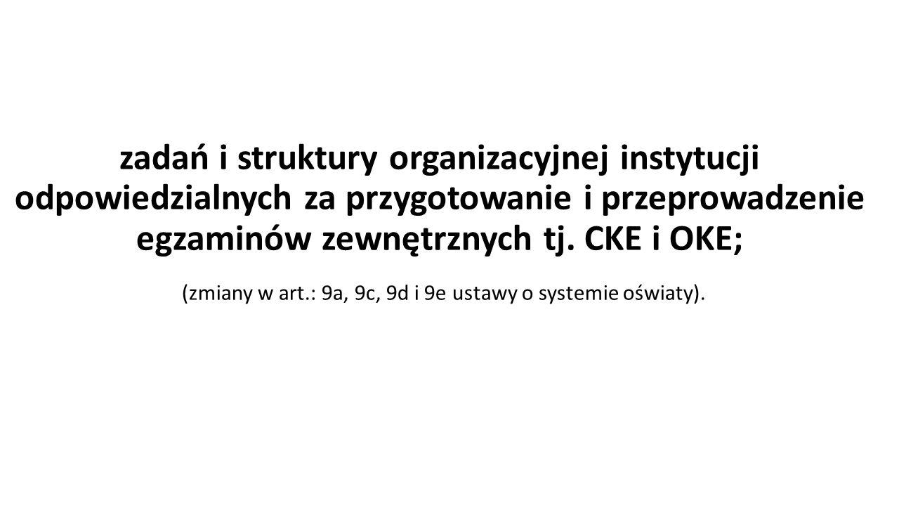 (zmiany w art.: 9a, 9c, 9d i 9e ustawy o systemie oświaty).
