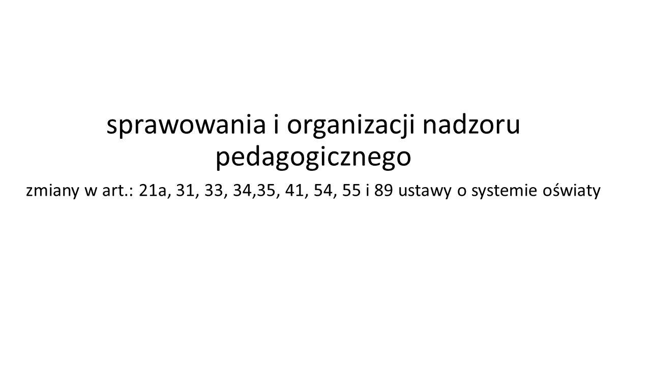 sprawowania i organizacji nadzoru pedagogicznego