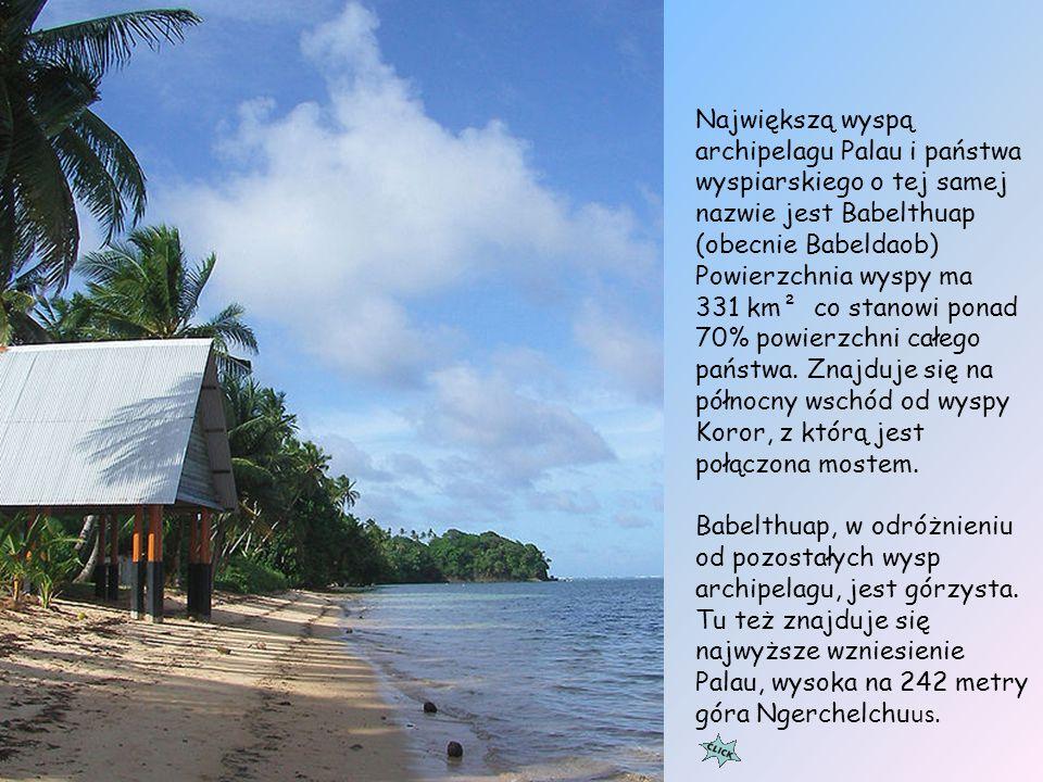 Największą wyspą archipelagu Palau i państwa wyspiarskiego o tej samej nazwie jest Babelthuap (obecnie Babeldaob) Powierzchnia wyspy ma