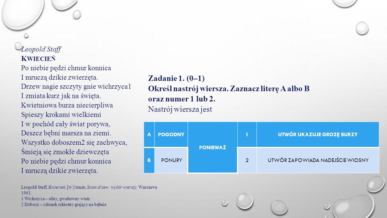 Określ nastrój wiersza. Zaznacz literę A albo B oraz numer 1 lub 2.