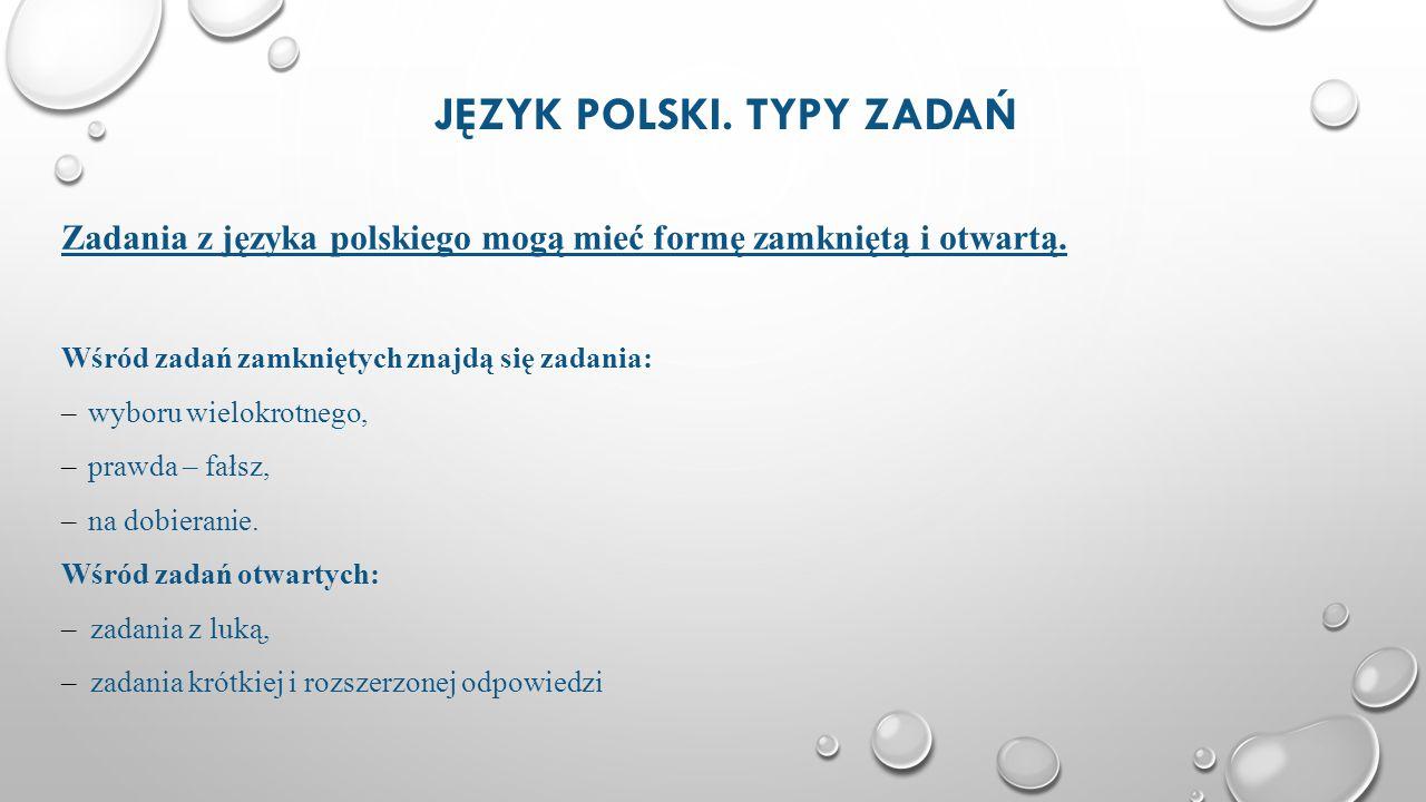 Język polski. Typy zadań