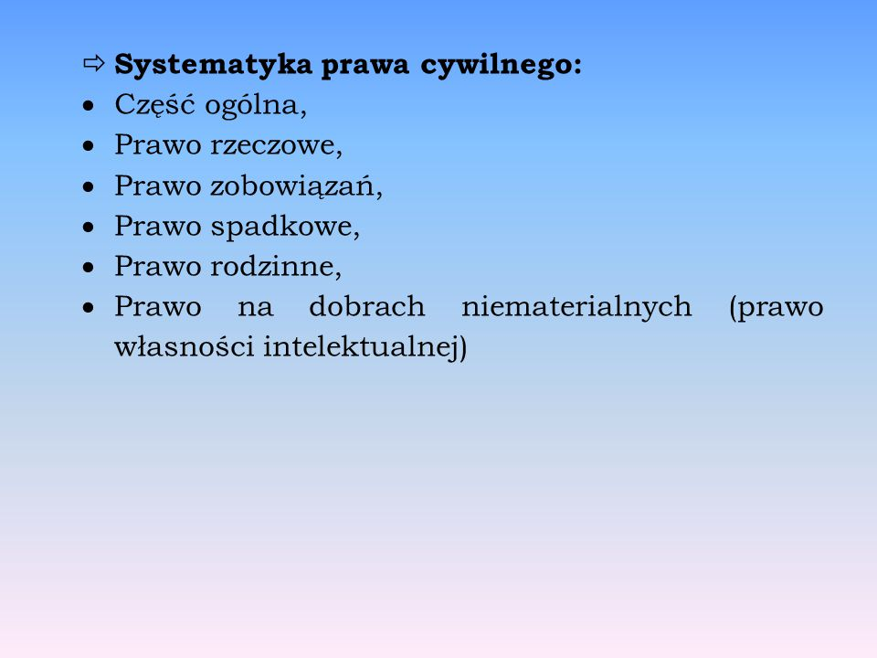 Systematyka prawa cywilnego: