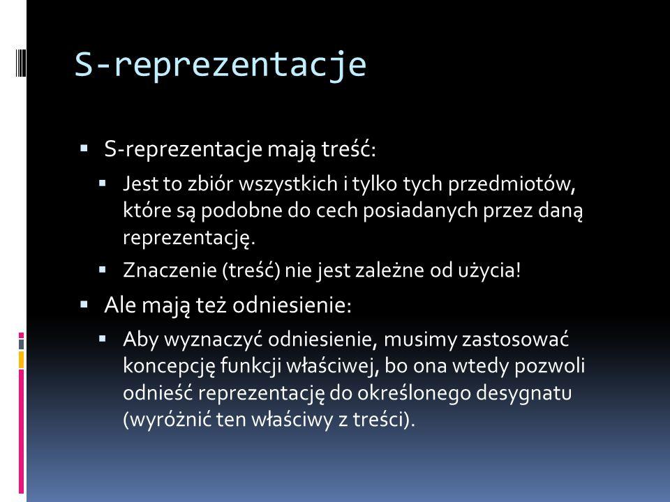 S-reprezentacje S-reprezentacje mają treść: Ale mają też odniesienie: