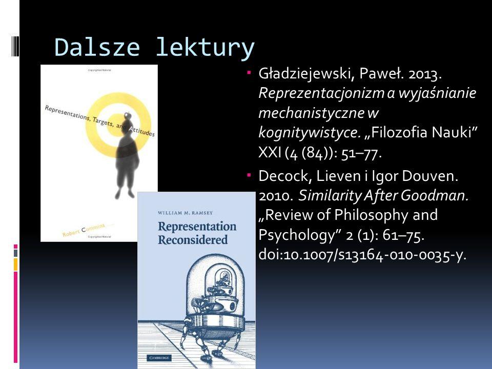 """Dalsze lektury Gładziejewski, Paweł. 2013. Reprezentacjonizm a wyjaśnianie mechanistyczne w kognitywistyce. """"Filozofia Nauki XXI (4 (84)): 51–77."""