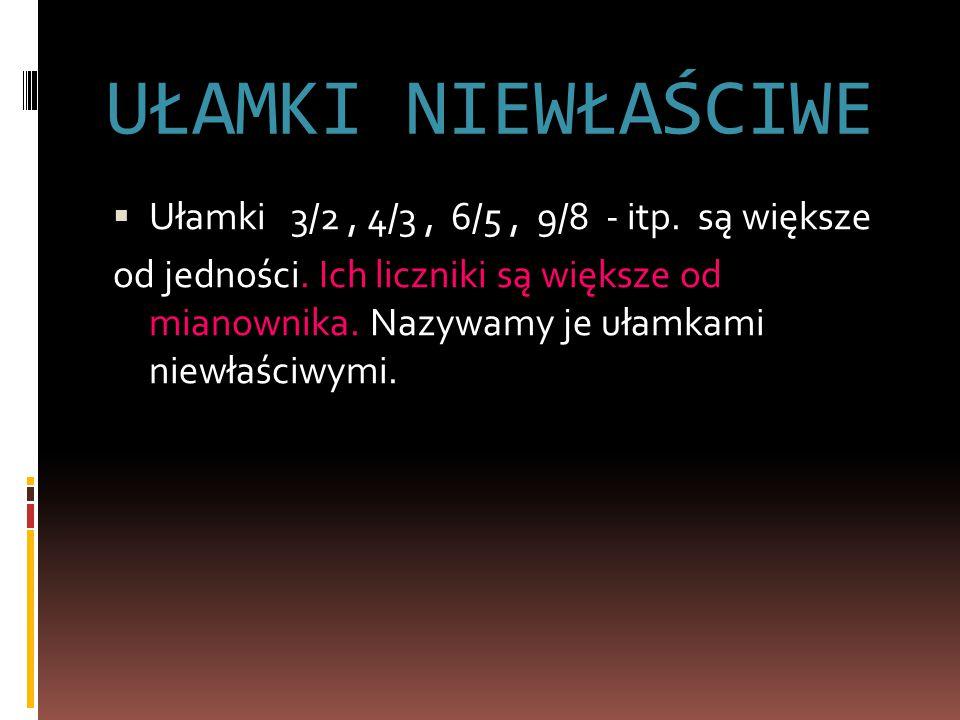 UŁAMKI NIEWŁAŚCIWE Ułamki 3/2 , 4/3 , 6/5 , 9/8 - itp. są większe