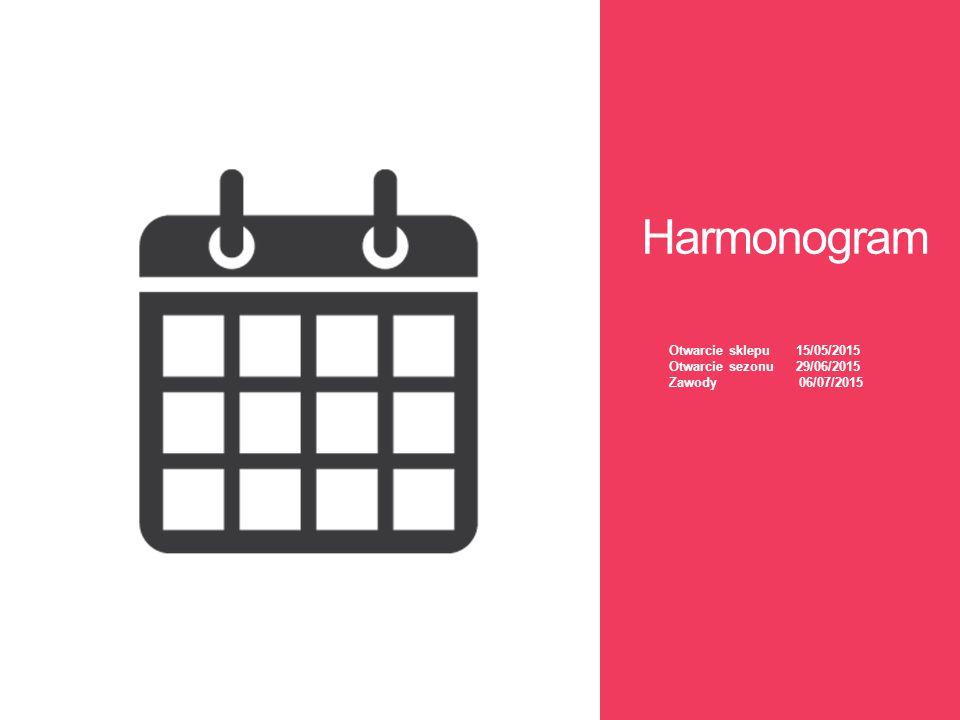 Harmonogram Otwarcie sklepu 15/05/2015 Otwarcie sezonu 29/06/2015 Zawody 06/07/2015.