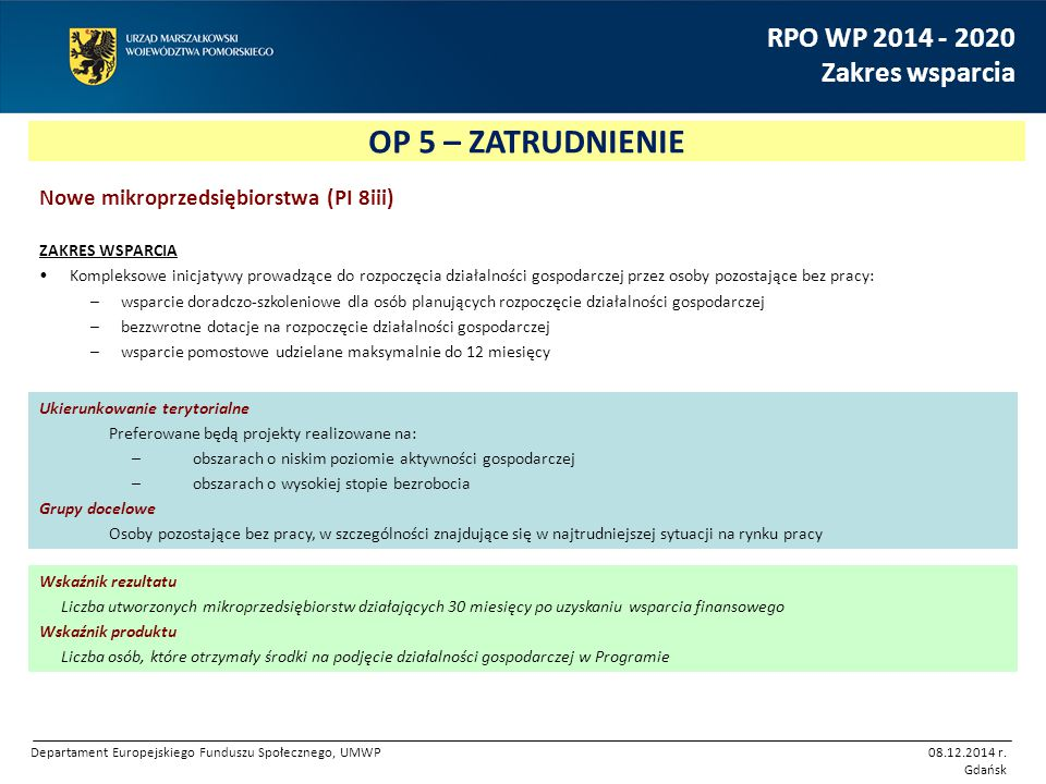 OP 5 – ZATRUDNIENIE RPO WP 2014 - 2020 Zakres wsparcia