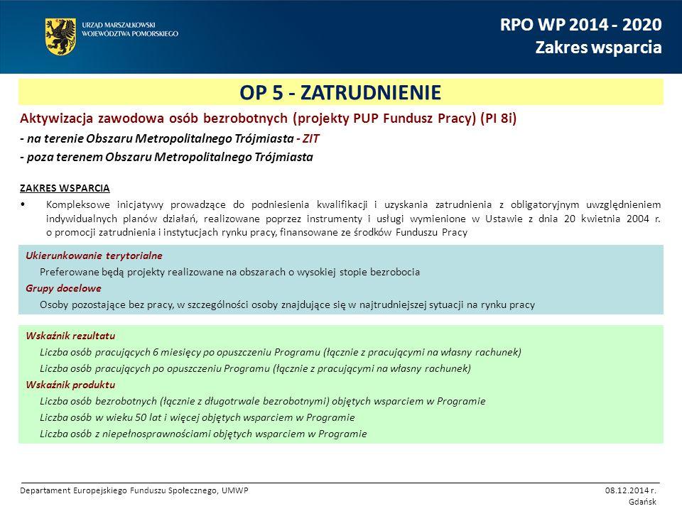 OP 5 - ZATRUDNIENIE RPO WP 2014 - 2020 Zakres wsparcia