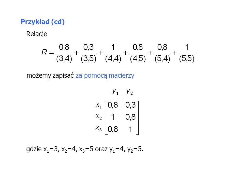 Przykład (cd) Relację możemy zapisać za pomocą macierzy gdzie x1=3, x2=4, x3=5 oraz y1=4, y2=5.
