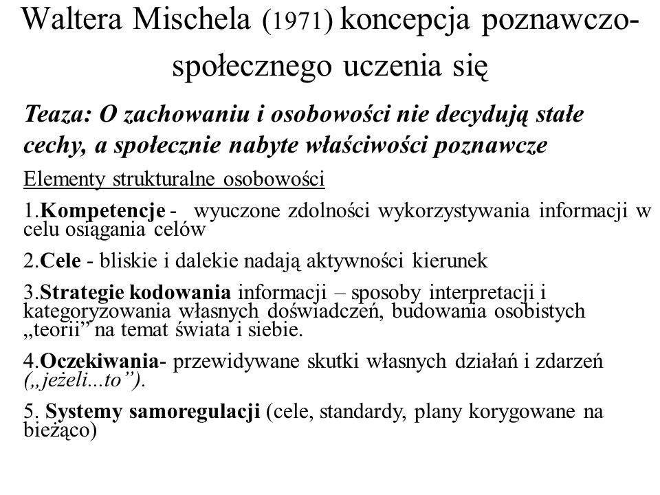 Waltera Mischela (1971) koncepcja poznawczo-społecznego uczenia się