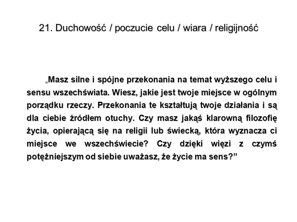 21. Duchowość / poczucie celu / wiara / religijność