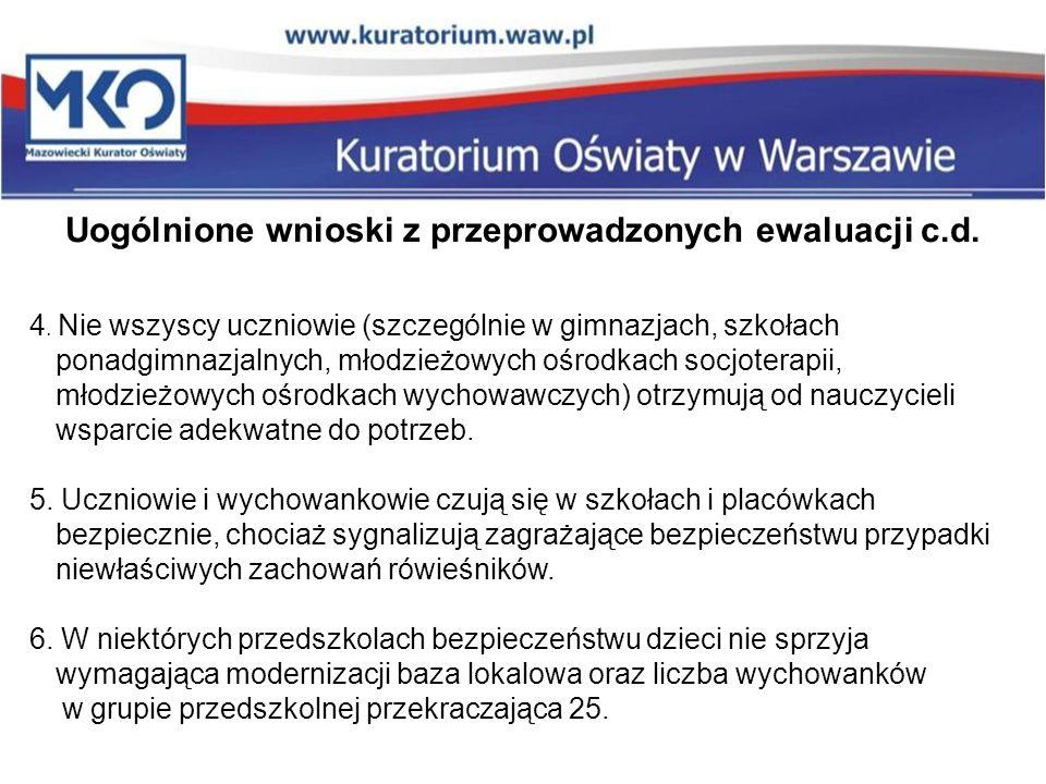 Uogólnione wnioski z przeprowadzonych ewaluacji c.d.