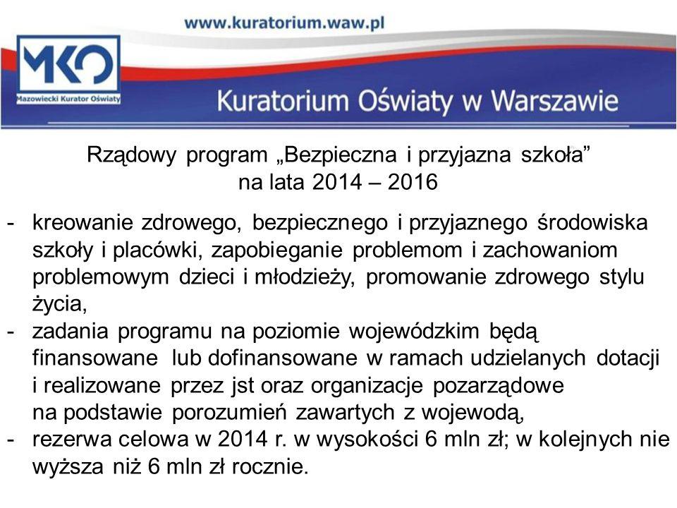 """Rządowy program """"Bezpieczna i przyjazna szkoła"""