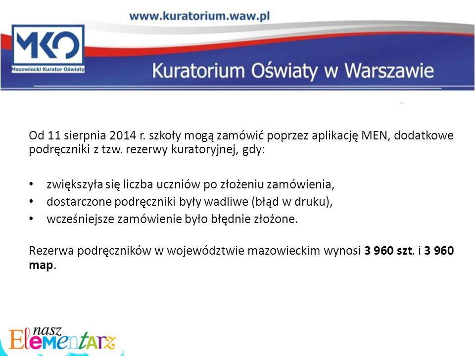 Od 11 sierpnia 2014 r. szkoły mogą zamówić poprzez aplikację MEN, dodatkowe podręczniki z tzw. rezerwy kuratoryjnej, gdy: