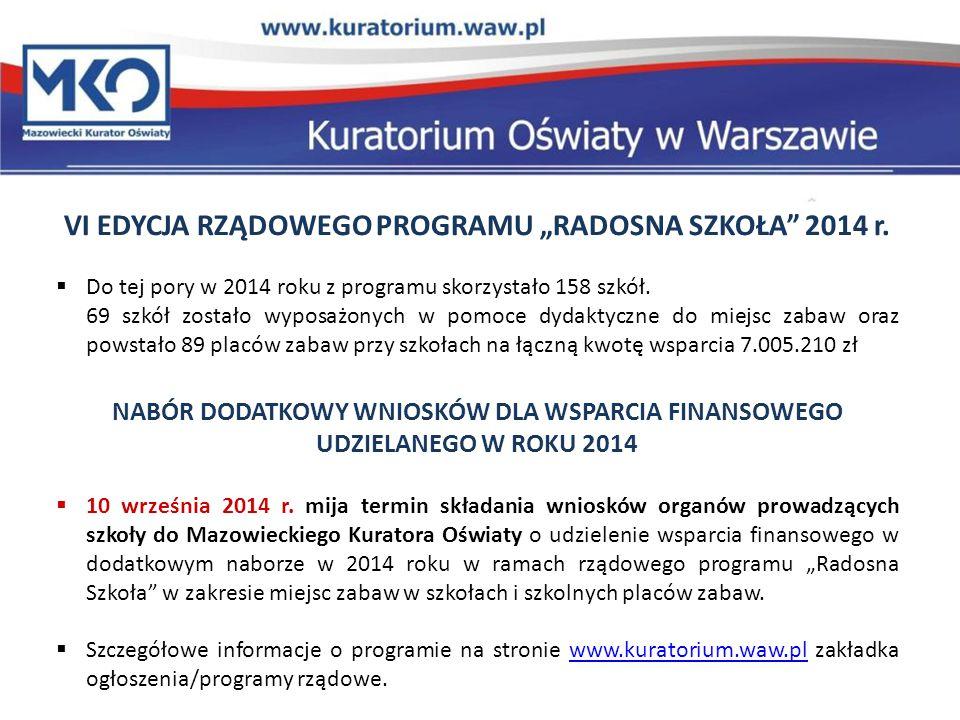"""VI EDYCJA RZĄDOWEGO PROGRAMU """"RADOSNA SZKOŁA 2014 r."""