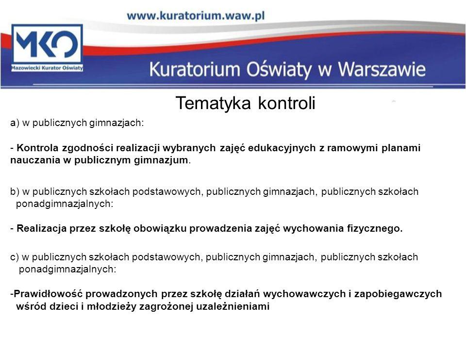 Tematyka kontroli a) w publicznych gimnazjach: