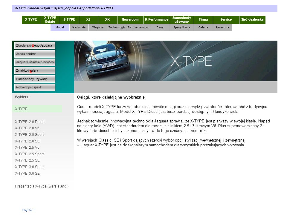"""X-TYPE / Model (w tym miejscu """"odpala się podstrona X-TYPE)"""