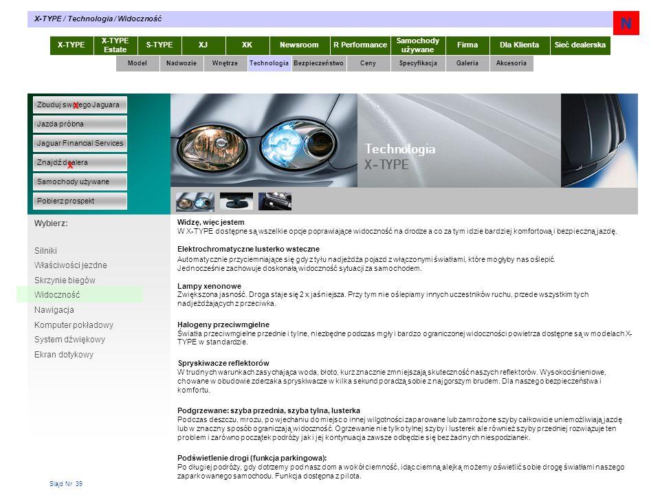 N Technologia X-TYPE x x Wybierz: Silniki Właściwości jezdne