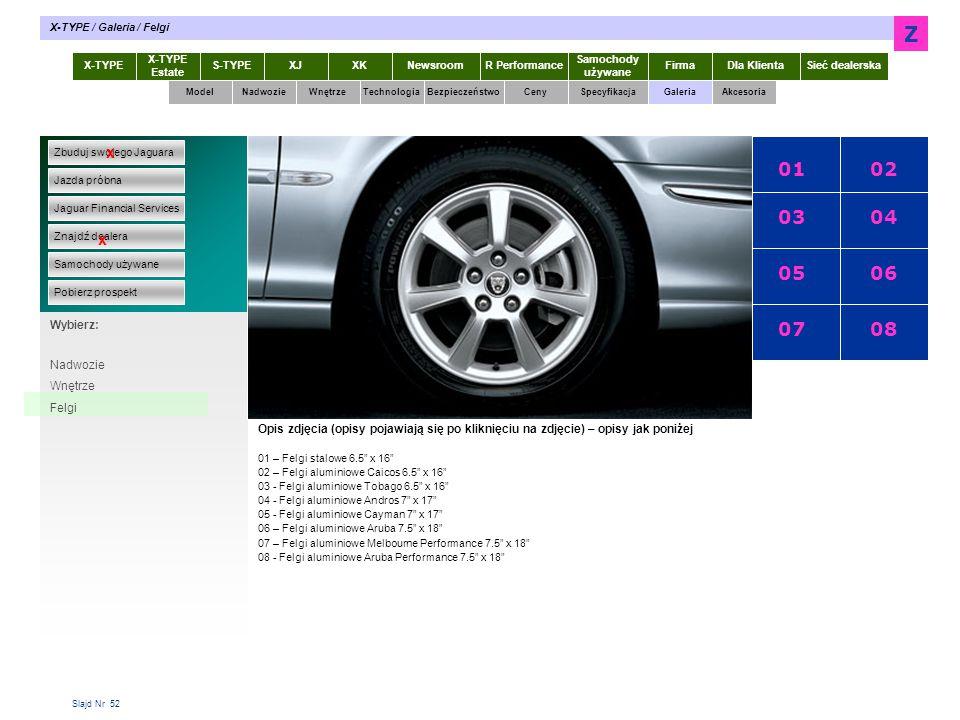Z 01 02 03 04 05 06 07 08 x x X-TYPE 2.0 Diesel Specyfikacja Wybierz: