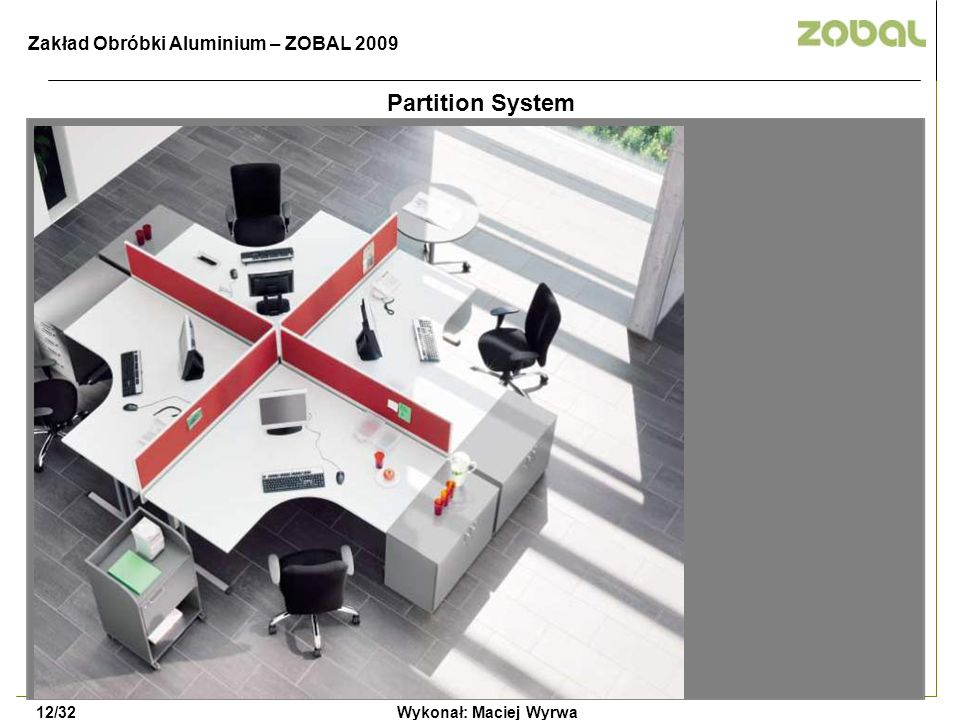 Partition System Zakład Obróbki Aluminium – ZOBAL 2009 12/32
