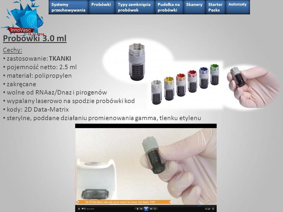 Probówki 3.0 ml Cechy: zastosowanie: TKANKI pojemność netto: 2.5 ml