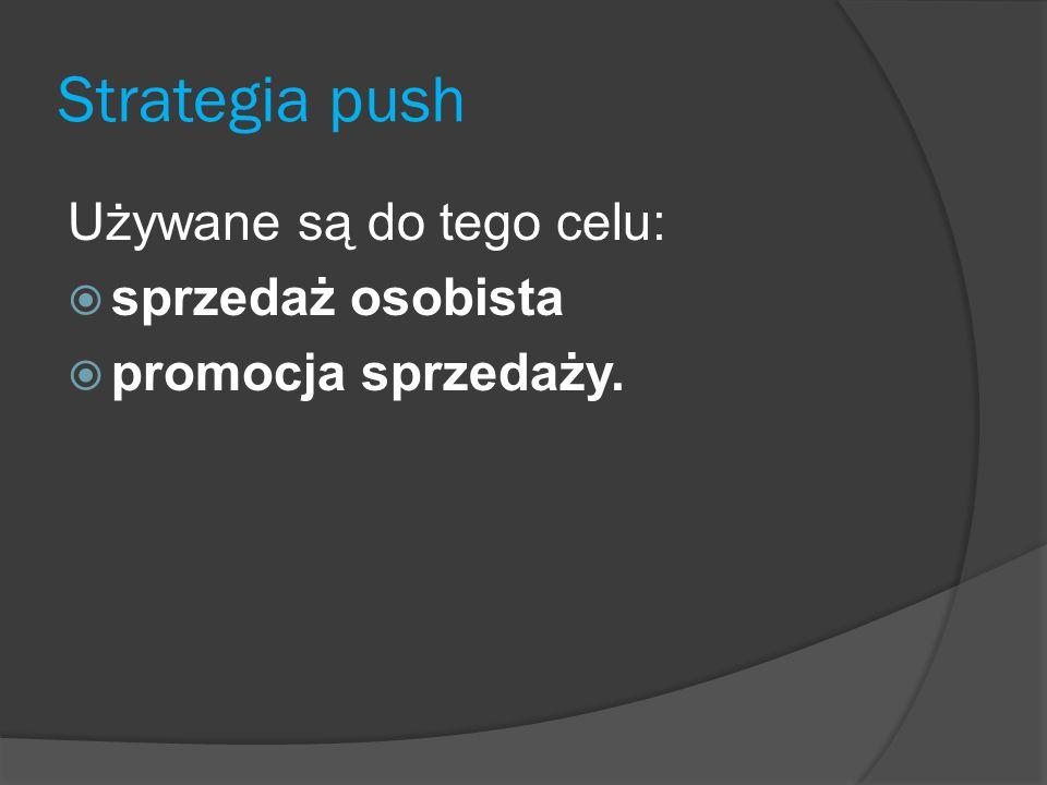 Strategia push Używane są do tego celu: sprzedaż osobista