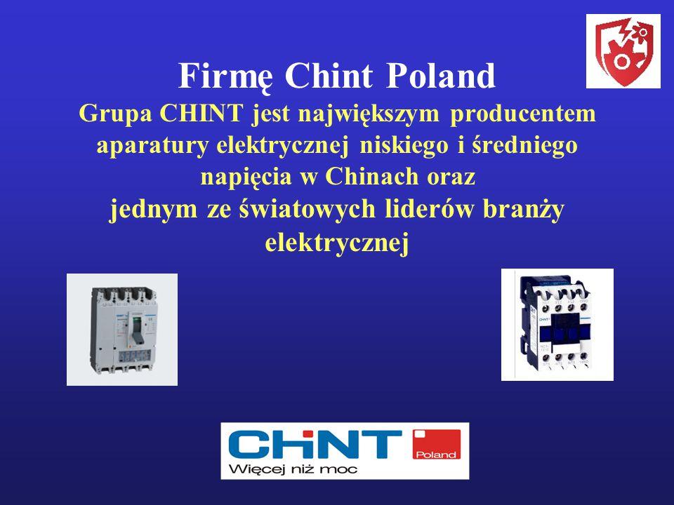 Firmę Chint Poland Grupa CHINT jest największym producentem aparatury elektrycznej niskiego i średniego napięcia w Chinach oraz jednym ze światowych liderów branży elektrycznej