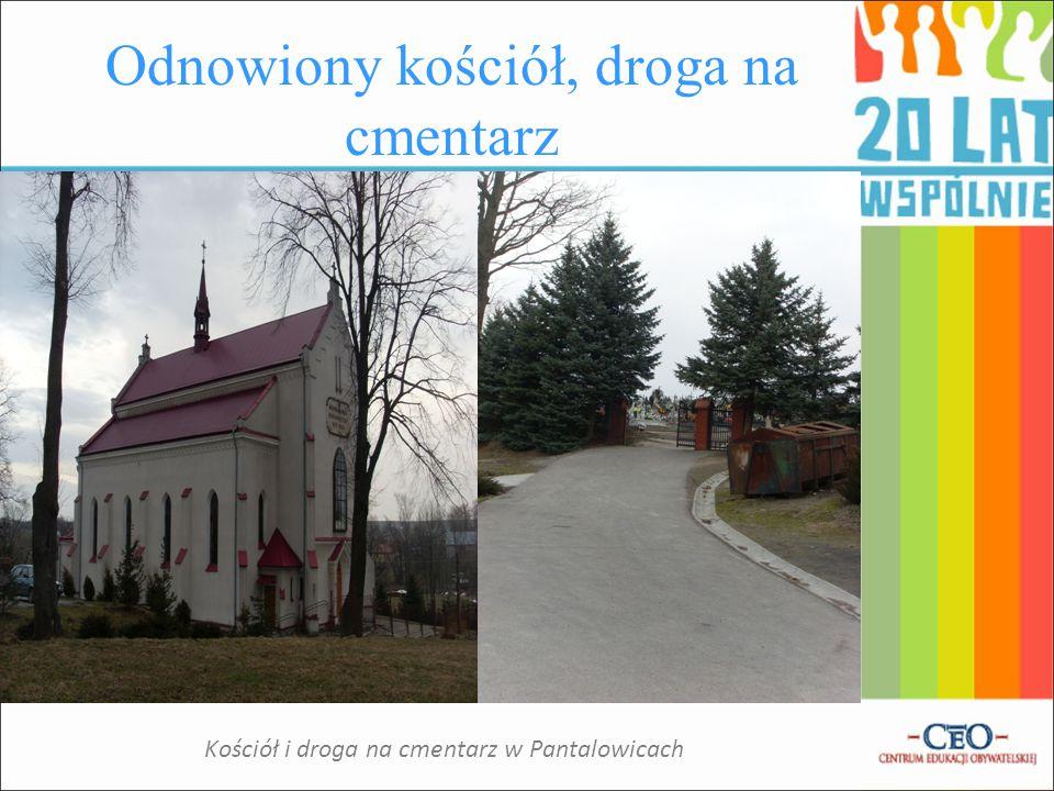 Odnowiony kościół, droga na cmentarz