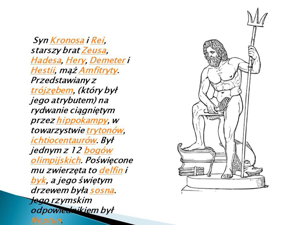 Syn Kronosa i Rei, starszy brat Zeusa, Hadesa, Hery, Demeter i Hestii, mąż Amfitryty.