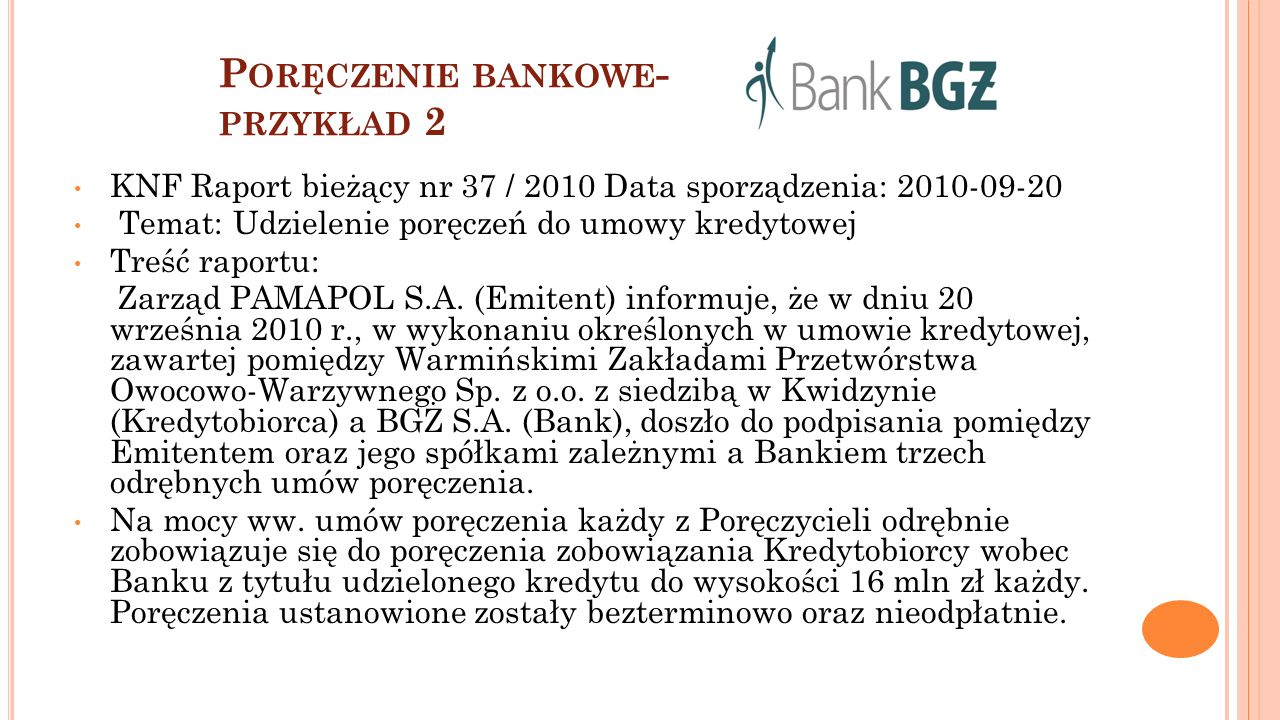 Poręczenie bankowe- przykład 2