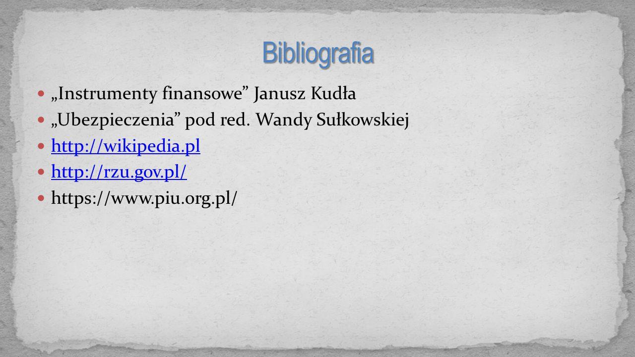 """Bibliografia """"Instrumenty finansowe Janusz Kudła"""