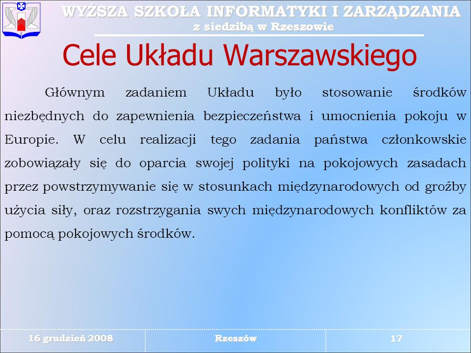 Cele Układu Warszawskiego