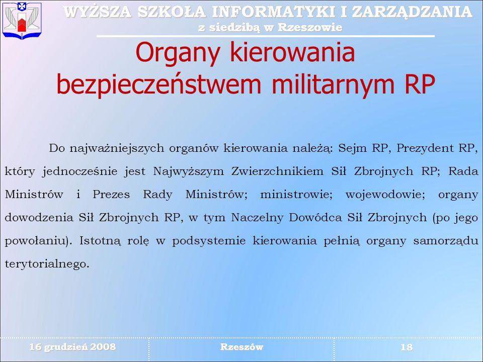 Organy kierowania bezpieczeństwem militarnym RP