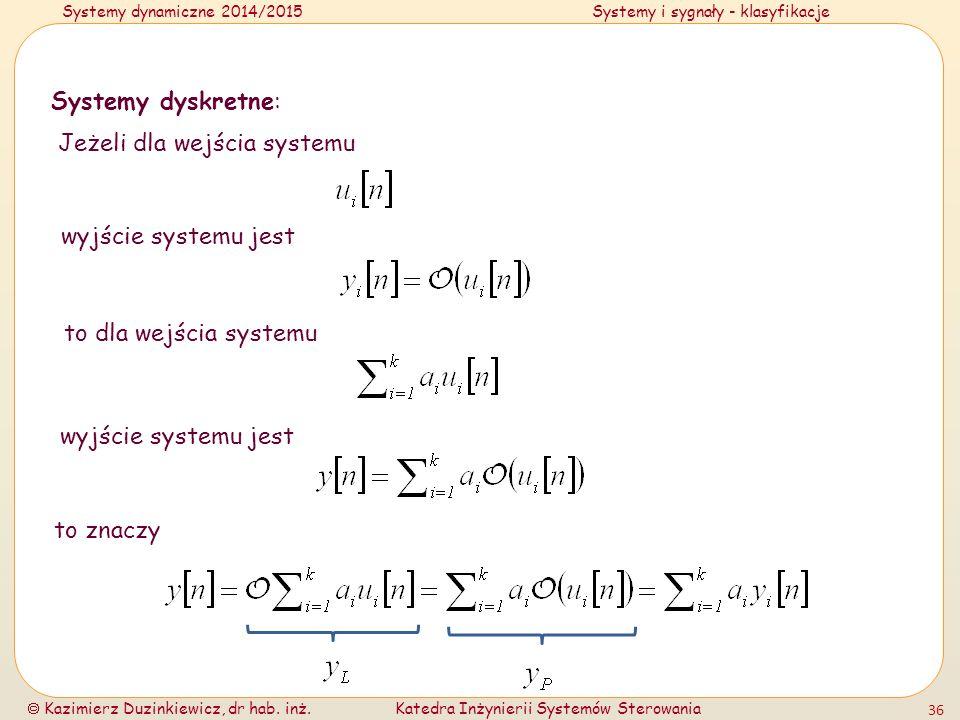 Systemy dyskretne: Jeżeli dla wejścia systemu. wyjście systemu jest. to dla wejścia systemu. wyjście systemu jest.